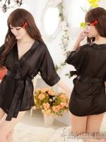 ชุดนอนเซ็กซี่/ซีทรู ชุดคลุมสีดำสไตส์สาวน้อยญี่ปุ่น +กางเกงใน