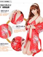 ชุดนอนเซ็กซี่/ซีทรู คอสเพลย์ญี่ปุ่นลายดอกไม้สีแดง + เสื้อใน+กางเกงใน เข้าชุด