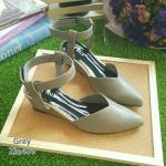 ZARA lady's shoes พร้อมส่ง รองเท้าหัวแหลมส้นเตารีด สีเทา
