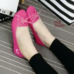 รองเท้าคัชชู ผ้าcanvas (สีชมพู)