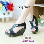รองเท้าหุ้มส้นทรงเตารีดสไตล์Lacoste(สีดำ)