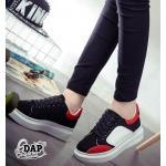รองเท้าผ้าใบแฟชั่นเกาหลี ทรง Sport เสริมส้น(สีดำ)