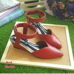 ZARA lady's shoes พร้อมส่ง รองเท้าหัวแหลมส้นเตารีด สีแดง