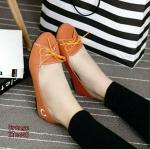 รองเท้าคัชชู ผ้าcanvas (สีส้ม)