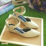 ZARA lady's shoes พร้อมส่ง รองเท้าหัวแหลมส้นเตารีด สีครีม