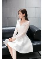 เดรสสีขาว ชุดสีขาว เดรสตัวเสื้อผ้าลูกไม้เนื้อนิ่มสีขาว แขนยาว