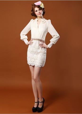 ชุดแซกสั้น Brand Qian Bai ชุดเดรสชุดแซกงานพรีเมี่ยม ตัวเสื้อผ้าชีฟองเนื้อดีสีครีม แขนยาว กระโปรงผ้าถักโครเชต์อย่างดี สวยมากๆครับ (พร้อมส่ง)