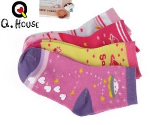 U037-18**พร้อมส่ง** (ปลีก+ส่ง) ถุงเท้า Q House แฟชั่นเด็กหญิง (3-6 ปี) มีกันลื่น เนื้อดี งานนำเข้า ( Made in China)