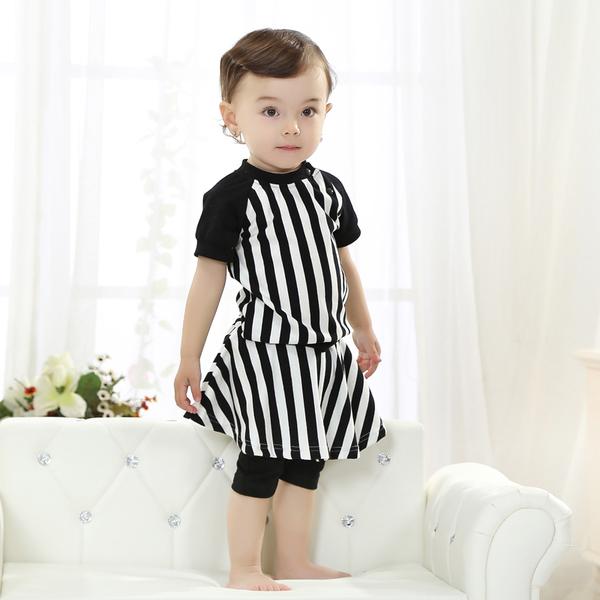 พร้อมส่ง เสื้อผ้าเด็กทารก เพศหญิง 1-2 ปี ราคาส่งจากโรงงาน culottes รหัส H2020 สีดำ ลายตั้ง 1 ชุด ไซร์ 110 (ส่วนสูง 90-98 cm )
