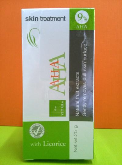 (ยกโหล ราคาส่ง) VITARA AHA 9% Skin Treatment Cream 25G ไวทาร่า เอ เอช เอ สารสกัดจากกรดผลไม้ ช่วยให้ผิวกระจ่างใสขึ้น ลดฝ้า กระ จุดด่างดำบนใบหน้า