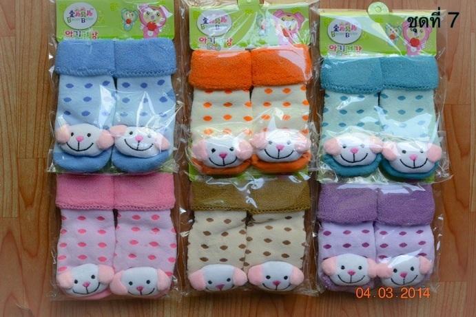 U024-7**พร้อมส่ง**(ปลีก+ส่ง) ถุงเท้าเด็กวัย 1-3 ขวบ ติดหัวสัตว์ พับข้อ มีเสียงกุ๊งกิ๊ง และมีกันลื่น เนื้อดี งานนำเข้า (Made in China)