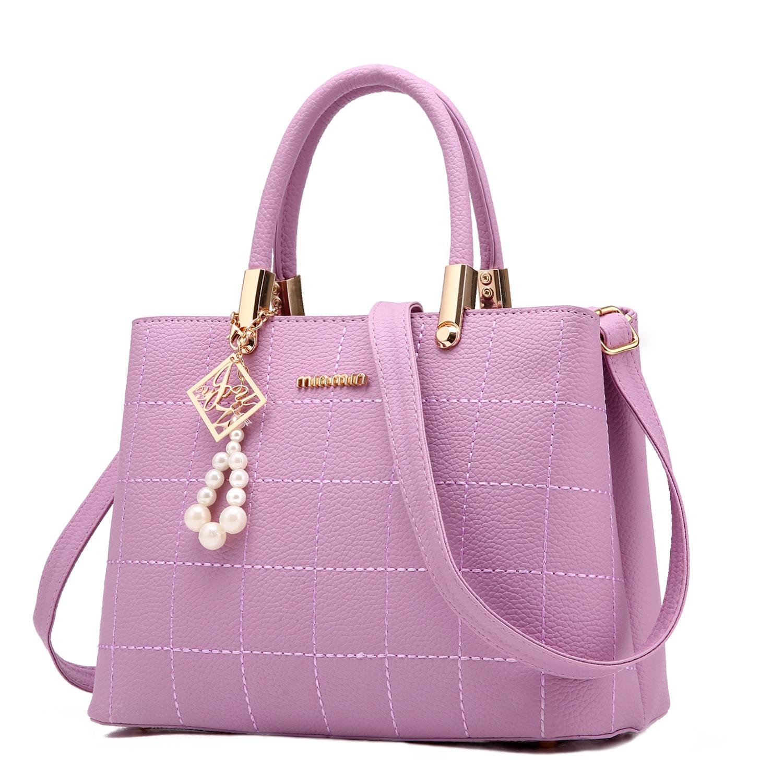 Pre-order กระเป๋าผู้หญิงถือและสะพายข้าง แฟชั่นยุโรป สไตล์แบรนด์ MIUMIU รหัส KO-721 สีม่วงอ่อน *แถมจี้ห้อย