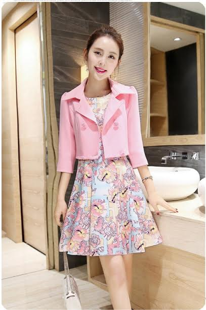 ชุดเดรสแฟชั่น set เสื้อสูทสีชมพูพาสเทล และเดรสแขนกุด สวยหวานครับ