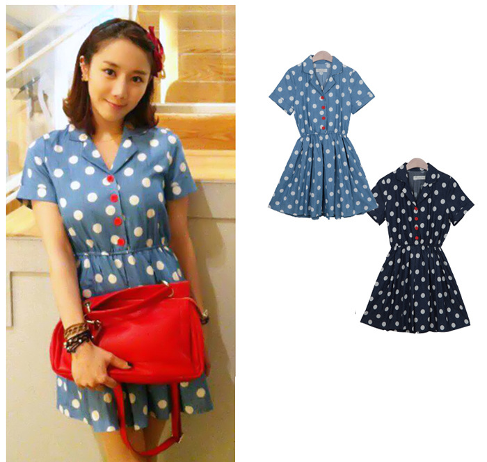 CHERRY DRESS ชุดเดรสแฟชั่นผ้ายีนส์ ลายจุดสีขาว คอปก แขนสั้น สีฟ้า กระดุมหน้าสีแดง จั๊มเอว ใส่ทำงาน ใส่เที่ยว วัยทีน น่ารัก thaishoponline (พร้อมส่ง)