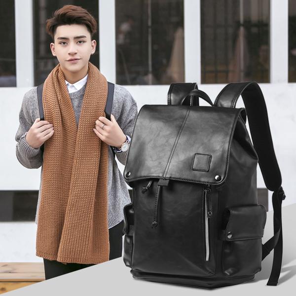 Pre-order กระเป๋าเป้สะพายหลัง เป้นักเรียนผู้ชาย ใส่คอมพิวเตอร์ได้ แฟชั่นเกาหลี รหัส Man-1508 สีดำ