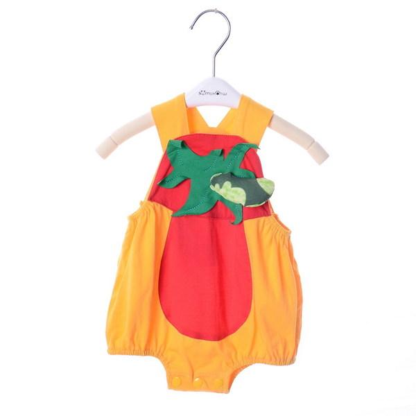 เสื้อผ้าเด็กทารก ราคาส่งจากโรงงาน เด็กผู้หญิง อายุ 0-1-2 ปี เสื้อแขนกุด ชุดฤดูร้อน รหัส H1165 สีส้มลายพริก 1 ชุด ไซร์ 70 (ส่วนสูง 59-66 cm )