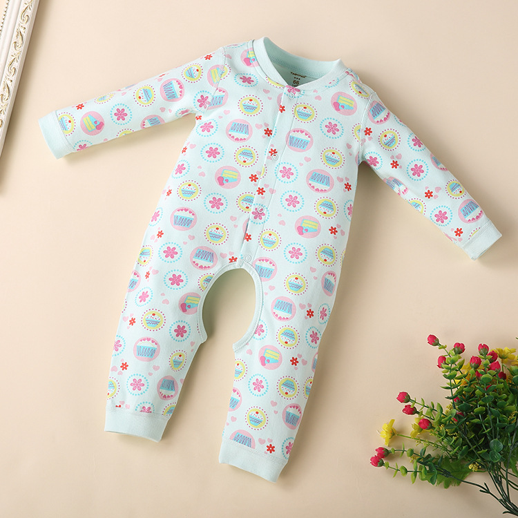 พร้อมส่ง เสื้อผ้าเด็กทารกแรกเกิด 0-1 ปี ราคาส่งจากโรงงาน ใช้ได้ทั้งเด็กหญิงเด็กชาย jump suit Romper ชุดหมี รหัส T-12015 สีฟ้าลายดอกไม้ 1ชุด ไซร์ 59 (ส่วนสูง 59cm )