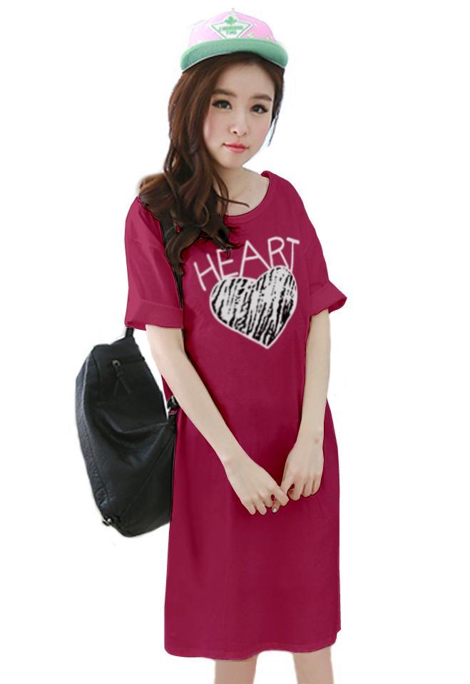 เสื้อยืดแฟชั่นตัวยาว ทรงกระบอก ผ้านุ่ม ลาย Heart สีชมพูบานเย็น