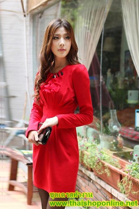 fashion ชุดทำงาน ชุดทํางานเกาหลี สีแดง คอแต่งระบาย แขนยาว กระโปรงสั้นเข้ารูป ซิปข้าง ซื้อเป็นของขวัญให้แฟนน่ารักดีครับ (พร้อมส่ง)