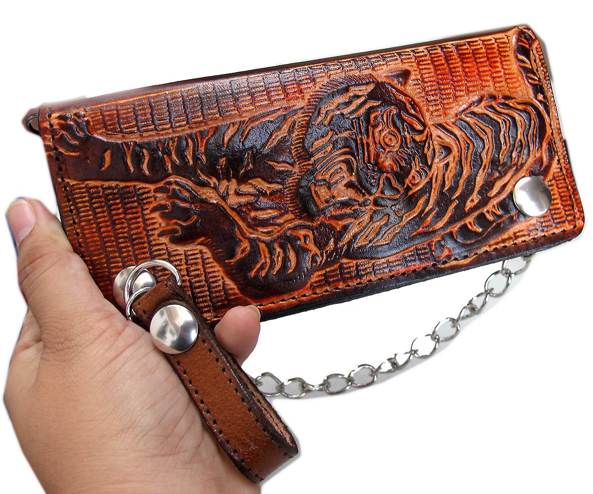 กระเป๋าสตางค์ยาวสีน้ำตาลลายเสือ แบบ 2 พับ พร้อมโซ่
