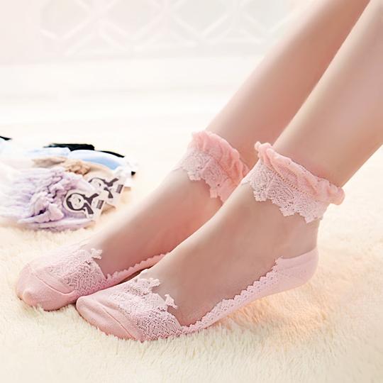 S491**พร้อมส่ง** (ปลีก+ส่ง) ถุงเท้าแก้ว แฟชั่นเกาหลี ข้อยาว เนื้อดี งานนำเข้า(Made in china)