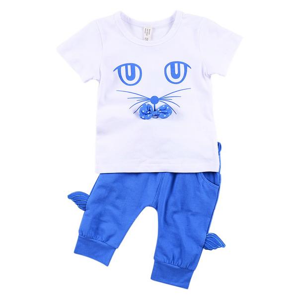เสื้อผ้าเด็กผู้หญิง ฤดูร้อน 0-1-2-3 ปี จากโรงงาน ชุดเสื้อแขนสั้น รหัส D1612 ชุดสีน้ำเงิน พิมพ์ลายแมว 1 ชุด ไซร์ 80 (ส่วนสูง 66-73 cm )