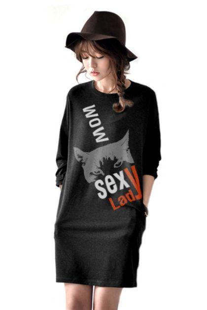 เสื้อยืดตัวยาว /แซกสั้น ผ้านุ่ม แขนยาว ลาย Fox (สีดำ)
