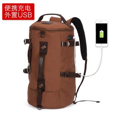 Pre-order กระเป๋าผู้ชาย เป้สะพายหลังและปรับสะพายข้างได้ มีช่องใส่คอมพิวเตอร์ เป้เดินทางแฟขั่นเกาหลี รหัส Man-30056-USB สีน้ำตาล รุ่นมี USB