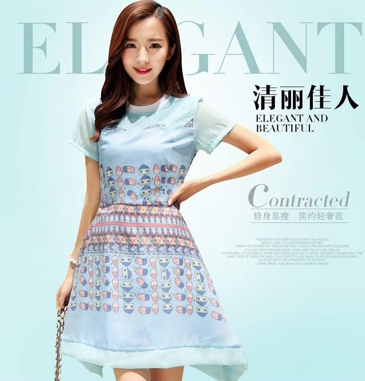 ชุดเดรสสวยๆ ผ้าชีฟอง สีฟ้า พิมพ์ลายการ์ตูน น่ารักมากๆ