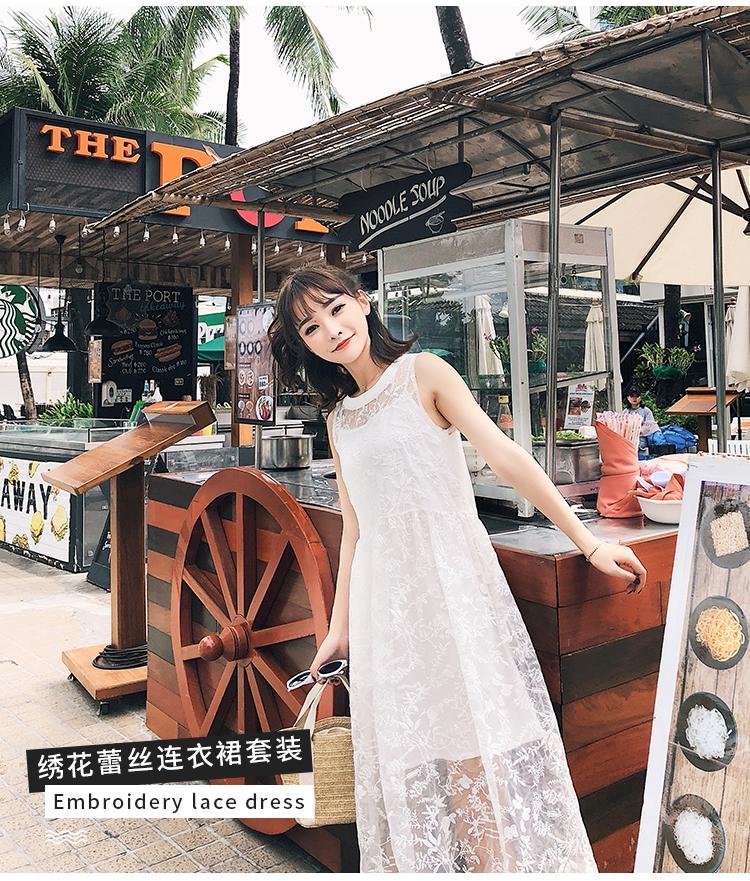 Summer Dress ผ้าไหมแก้ว organza สีขาว แขนกุด ปักด้ายลายดอกไม้ทั้งชุด คอกลม