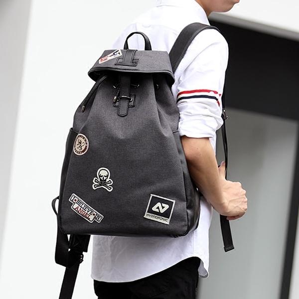 Pre-order กระเป๋าเป้สะพายหลัง เป้นักเรียนผู้ชายแบบผ้า ใส่คอมพิวเตอร์ได้14นิ้ว แฟชั่นเกาหลี รหัส Man-0343
