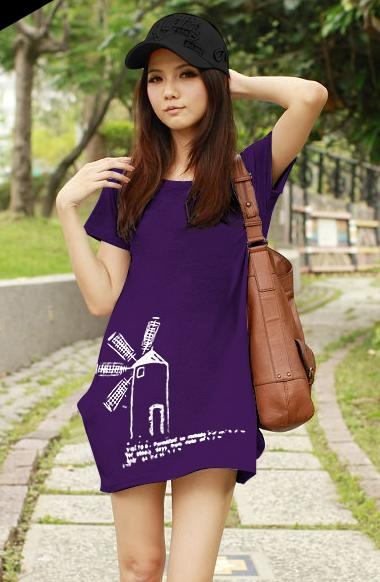 เสื้อยืดเกาหลี ตัวยาว ลาย กังหันลม สีม่วง