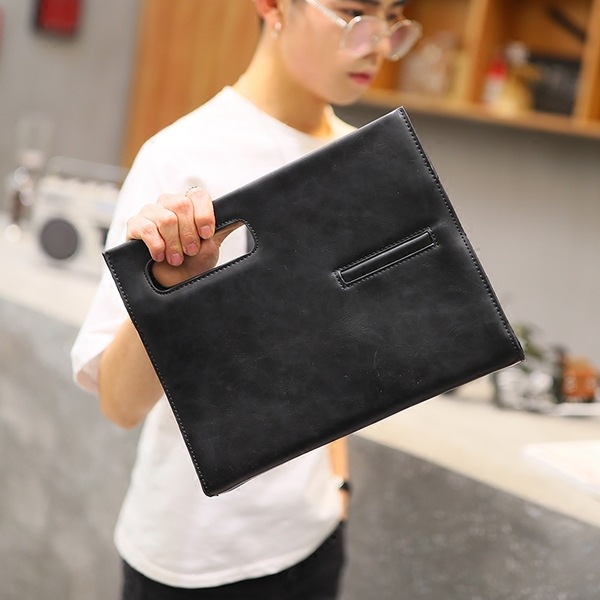 Pre-order กระเป๋าคลัทซ์ผู้ชาย และสะพายข้าง แฟขั่นเกาหลี ใส่ ipad 10 นิ้ว รหัส Man-6737 สีดำ