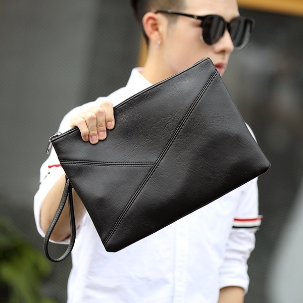 Pre-order กระเป๋าคลัทซ์ผู้ชาย ถือและสะพานข้าง ใส่Ipad 10 นิ้ว คลัทช์แฟชั่นเกาหลี Man-9602 สีดำ