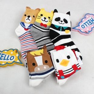 S230**พร้อมส่ง** (ปลีก+ส่ง) ถุงเท้าแฟชั่นเกาหลี ข้อยาว ลายสัตว์ มีหู คละ 5 แบบ(สี)เนื้อดี งานนำเข้า(Made in China)