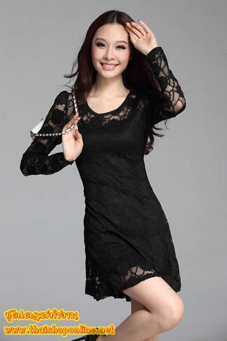 ชุดเดรส ชุดเดรสสั้น แฟชั่นเกาหลี ชุดเดรสลูกไม้ แขนยาว สีดำ คอกลม แขนยาว เอวยืด ใส่เป็นชุดทำงาน สวยมากๆครับ (พร้อมส่ง)