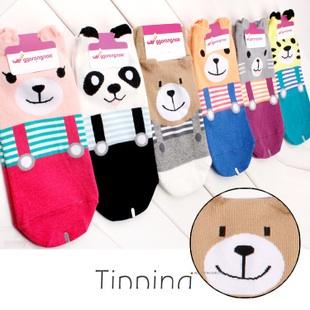 A017 **พร้อมส่ง**(ปลีก+ส่ง) ถุงเท้าแฟชั่นเกาหลี ลายเอี๊ยม มีหู มี 6 สี (แดง ดำ เทา ฟ้า ม่วง เขียว) เนื้อดี งานนำเข้า( Made in Korea)