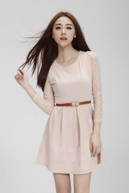 ชุดเดรสทำงาน ชุดเดรสสั้น แฟชั่นเกาหลี แขนยาวผ้าตาข่าย ซิปข้าง ชุดสีครีม ใส่เที่ยวน่ารัก ใส่ทำงานสวยมากๆครับ (พร้อมส่ง)