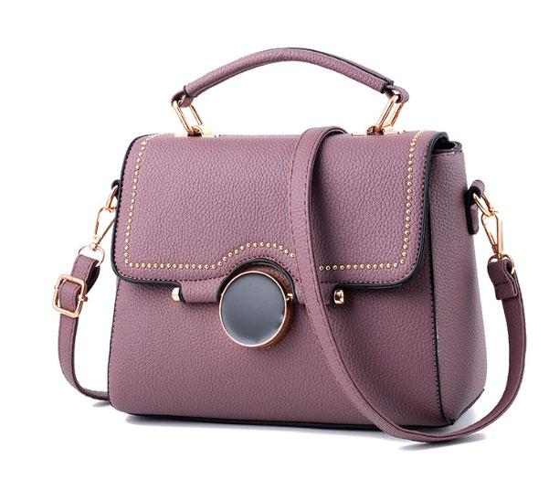 พร้อมส่ง ขายส่งกระเป๋าผู้หญิงถือและสะพายข้าง ใบเล็ก ทรงเหลี่ยม แฟชั่นเกาหลี KO-384 สีม่วงเข้ม 1 ใบ