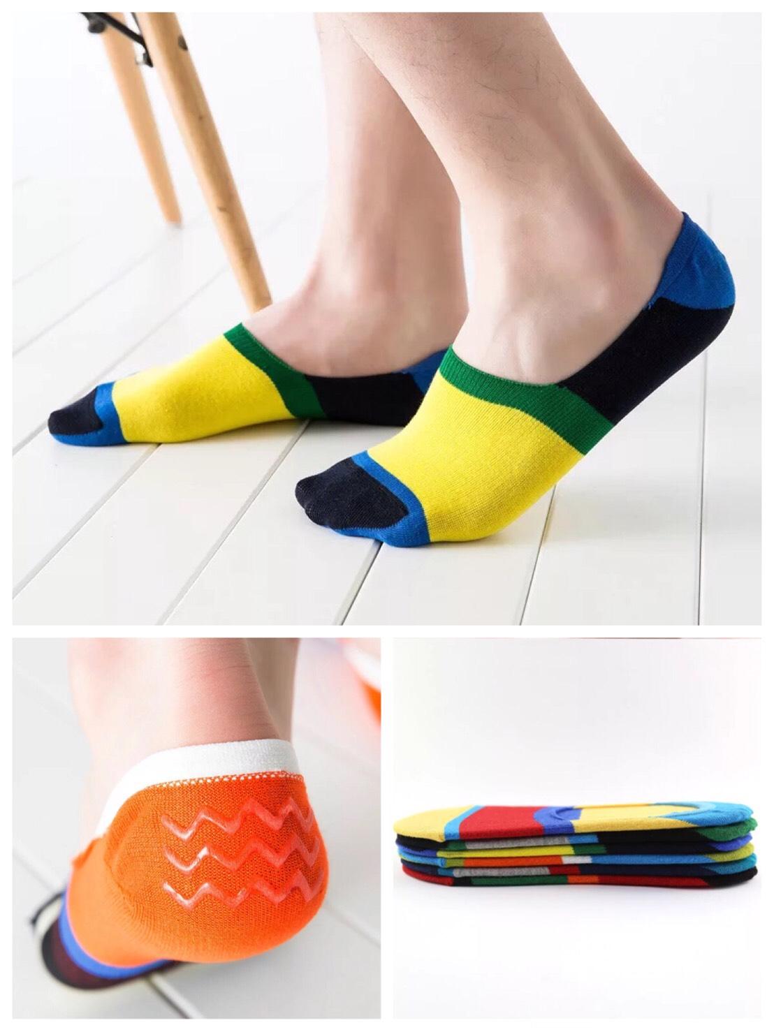 P005**พร้อมส่ง** (ปลีก+ส่ง) ถุงเท้าซ่อน ไร้ขอบ ลวดลาย ไซส์ชาย มีซิลิโคนกันหลุด 12 คู่ต่อแพ็ค เนื้อดี งานนำเข้า(Made in China)