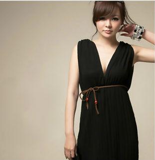 MAXI DRESS - ชุดเดรสยาว เดรสน่ารัก แขนกุด ใส่เที่ยว ทำงาน กระโปรงอัดพลีท ผ้าชีฟอง สีดำ สวยมากๆ สามารถใส่ออกงานได้ thaishoponline