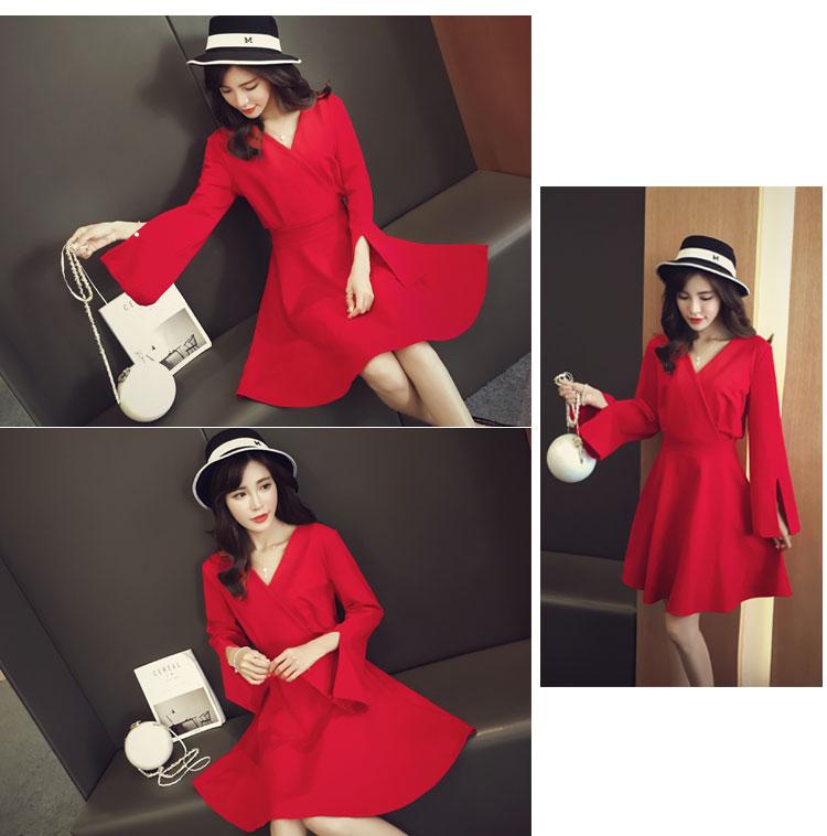 ชุดเดรสสีแดง ผ้าโพลีเอสเตอร์ผสม แขนยาว ดีไซน์เก๋ที่ปลายแขนเสื้อ