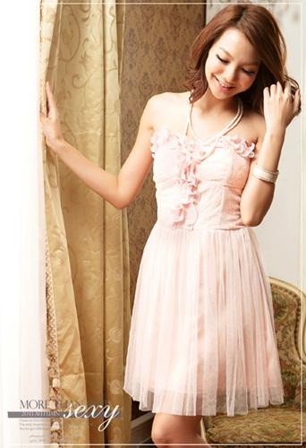 DRESS เดรสเกาะอก ผ้าลูกไม้ ใส่ไปงานแต่งงาน กระโปรงผ้ายืดสีชมพูแต่งเงินวิบวับ ทับด้วยผ้ามุ้งชั้นนอก ใส่ออกงานสวยมากครับ thaishoponline (พร้อมส่ง)