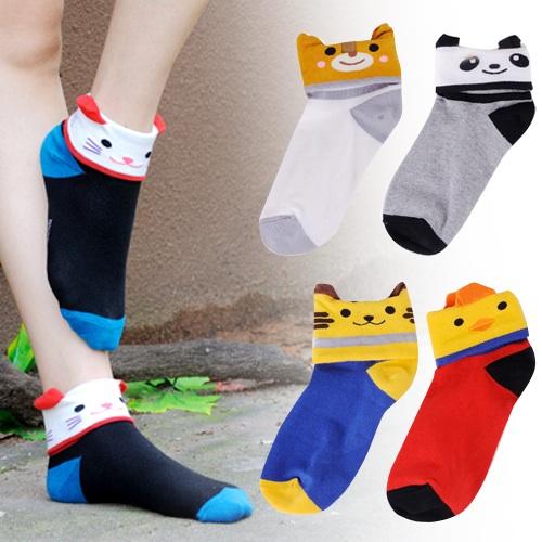 S278**พร้อมส่ง** (ปลีก+ส่ง) ถุงเท้าแฟชั่นเกาหลี พับข้อ ลายสัตว์ มีหู คละ 5 แบบ(สี)เนื้อดี งานนำเข้า(Made in China)