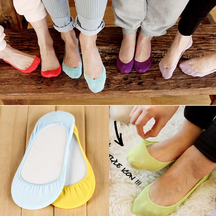 S008 **พร้อมส่ง** (ปลีก+ส่ง) ถุงเท้าคัทชู สีล้วน ไม่มีลาย เนื้อค๊อตต้อน มี 10 คู่ต่อแพ็ค เนื้อดี งานนำเข้า(Made in China)