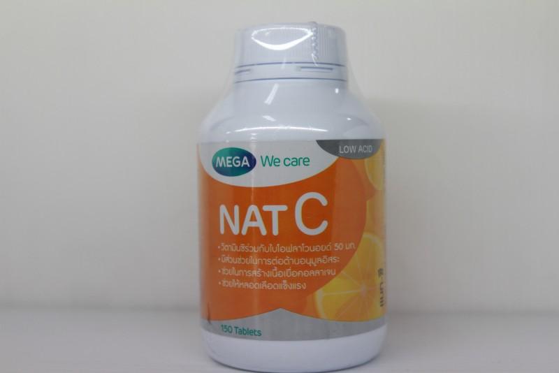 Mega We Care nat C วิตามินซี 1000 mg 150 เม็ด สร้างภูมิคุ้มกัน ลดภูมิแพ้ ป้องกันโรคต้อกระจก และโดยเฉพาะบำรุงผิวพรรณ ทำให้ผิวใส สร้างคอลลาเจน สำเนา