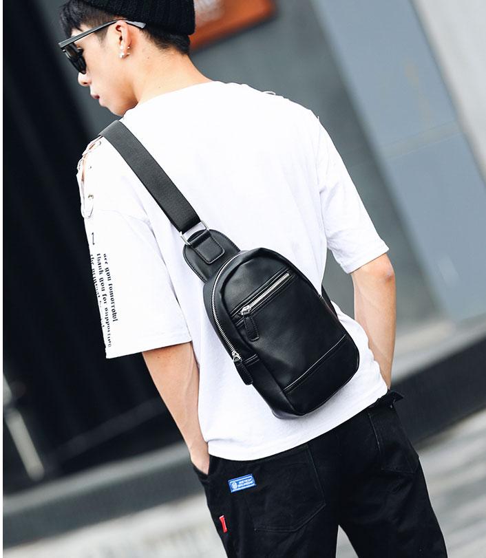 Pre-order กระเป๋าหนังคาดอก คาดไหล่ สะพายไหล่ ผู้ชายแฟชั่นเกาหลี รหัส Man-5232 สีดำ