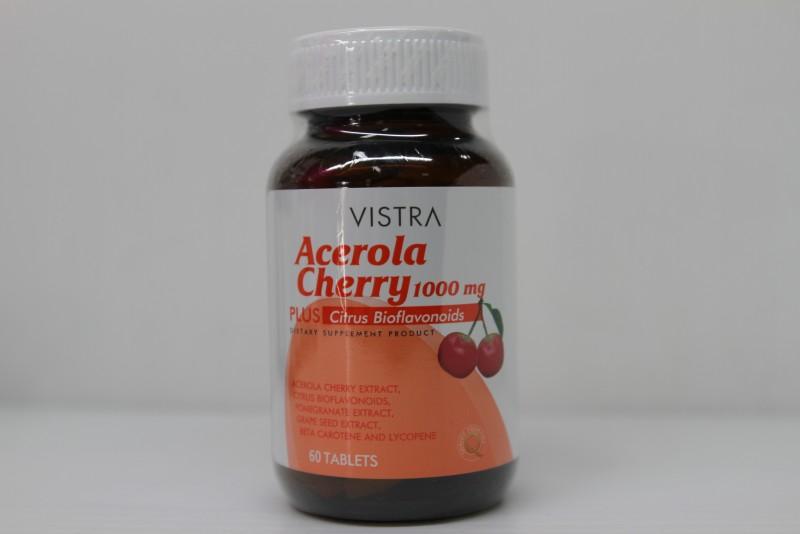 Vistra Acerola Cherry Vitamin C 1000 mg 60 แคปซูล [ขวดกลาง] เสริมภูมิคุ้มกัน ลดอาการภูมิแพ้ สังเคราะห์คอลลาเจน