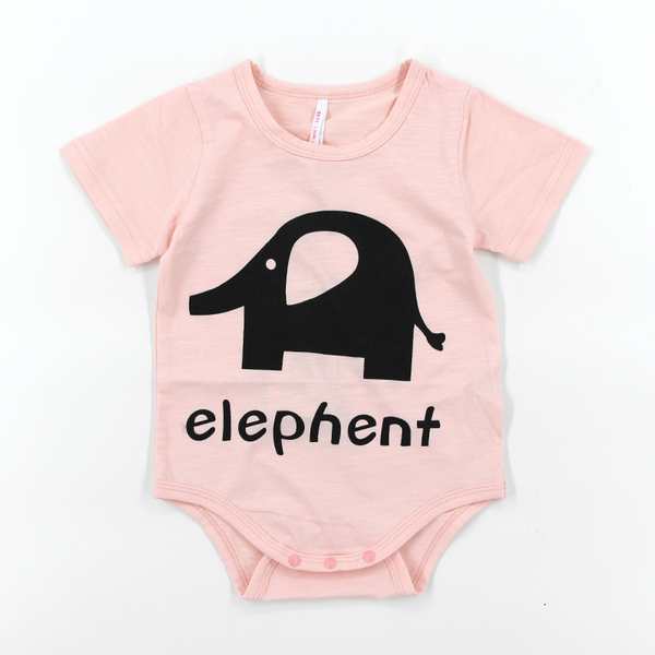 พร้อมส่ง เสื้อผ้าเด็กทารก 0-1-2 ปี ราคาส่งจากโรงงาน ฤดูร้อน เสื้อยืดผ้าฝ้าย เด็กหญิง รหัส K671 สีชมพู ลายช้าง 1 ชุด ไซร์ 80 (ส่วนสูง 66-73 cm )