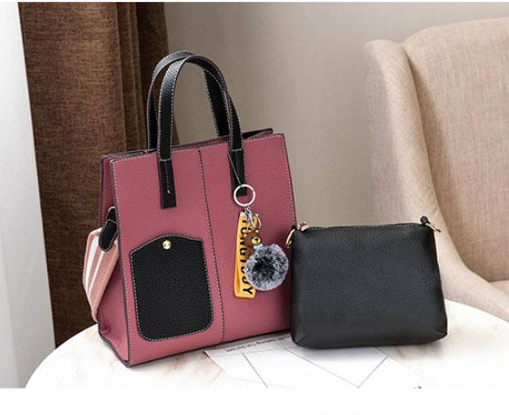 พร้อมส่ง กระเป๋าถือและสะพายข้าง ผู้หญิง แฟชั่นเกาหลี รหัส Yi-0201 สีชมพู 1 ใบ *แถมป๋อมหมี